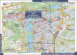 Prague car rental map